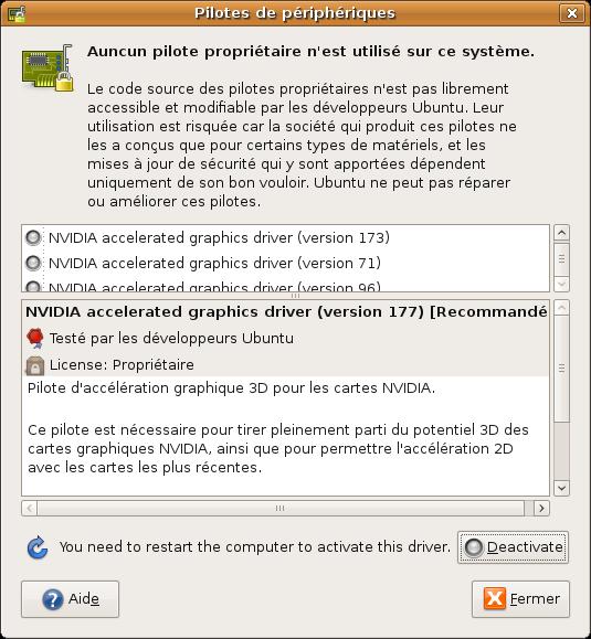 carte graphique ubuntu